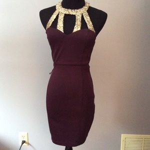 Maroon dress with gold sequins